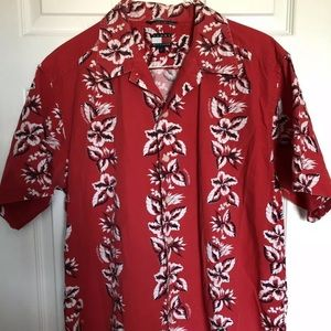TommyHilfiger Men Red Hawaiian Floral Shirt Size L